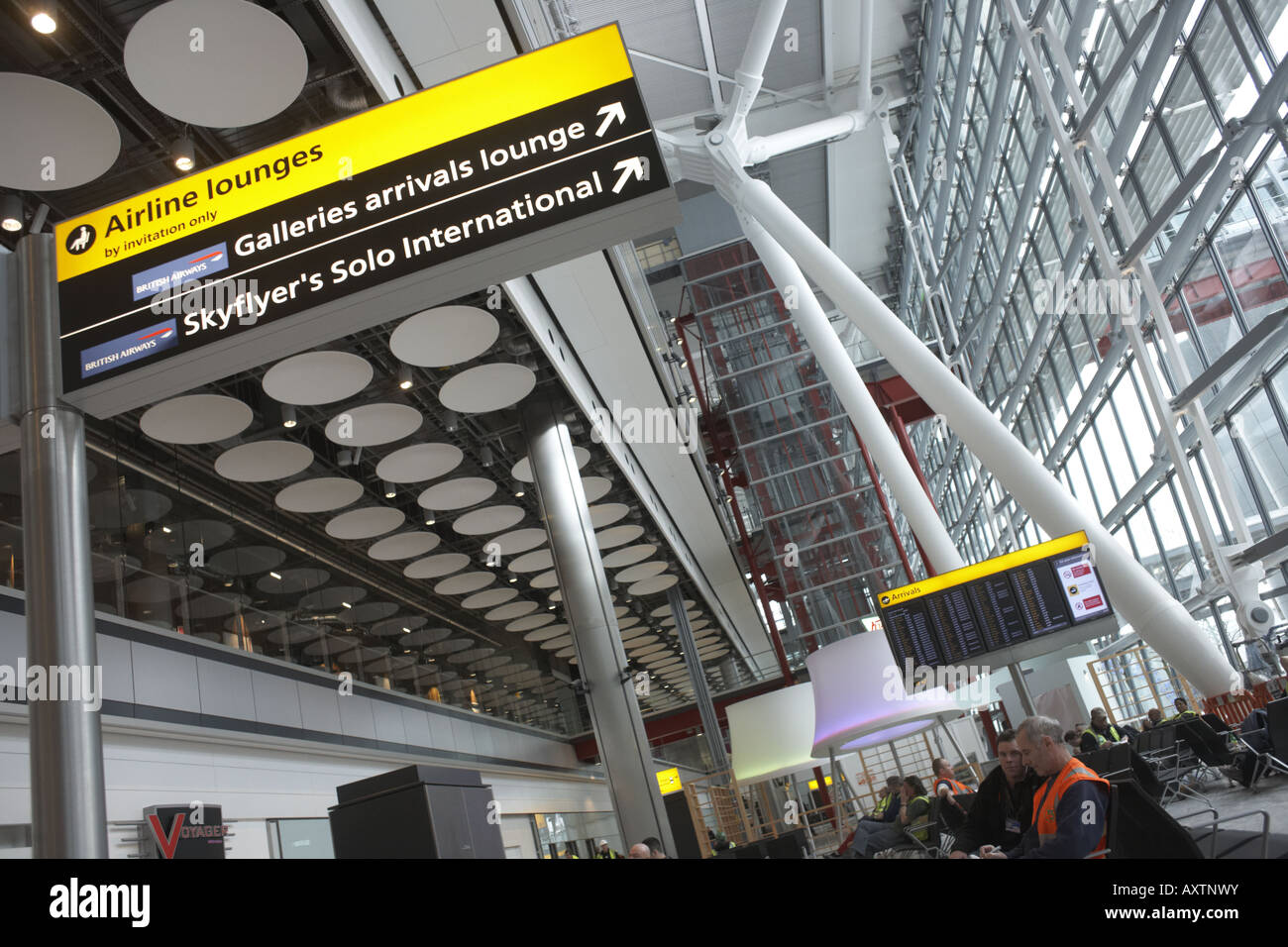 Looking upwards in landside Departures area newly opened London Heathrow Airport's Terminal 5 building - Stock Image
