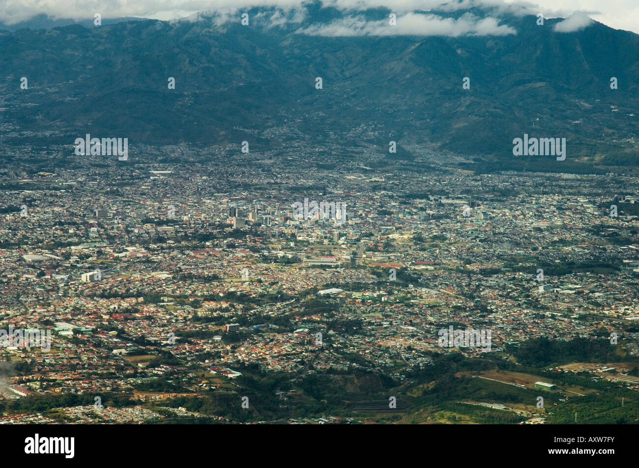 Approaching San Jose from the air, Costa Rica - Stock Image