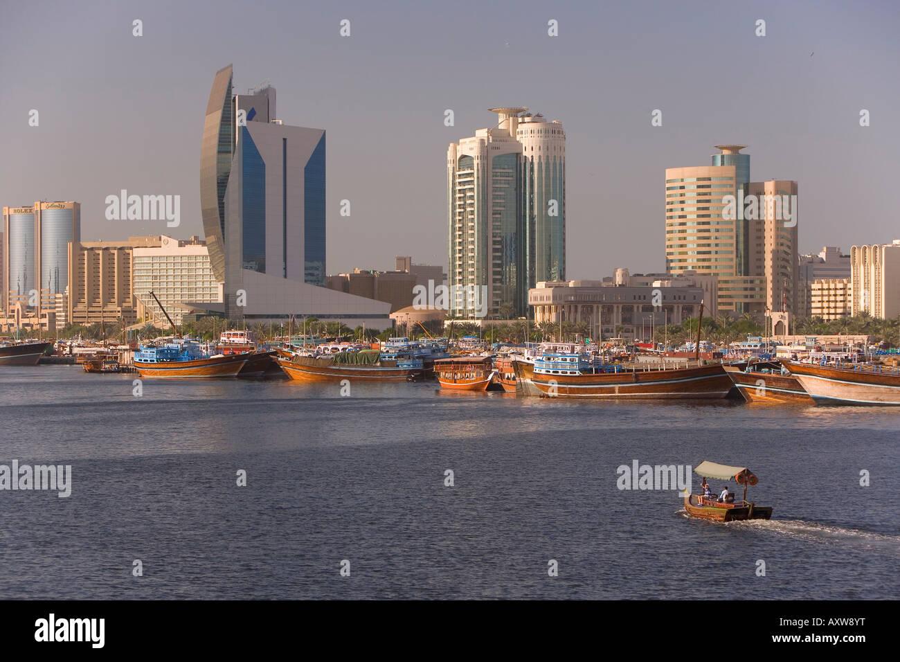 Dubai Creek (Khor Dubai), Dhow Wharfage and Commercial Centre, Deira, Dubai, United Arab Emirates, Middle East - Stock Image