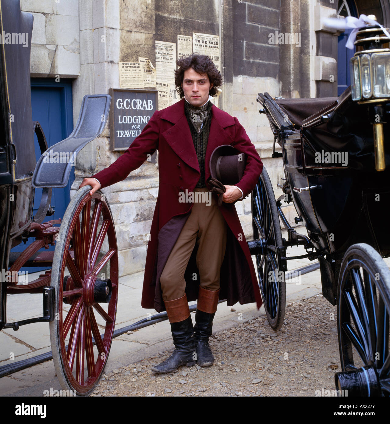Rufus Sewell as Will Ladislaw in George Eliot's literature masterpiece Middlemarch filmed in Stamford in Lincolnshire Stock Photo