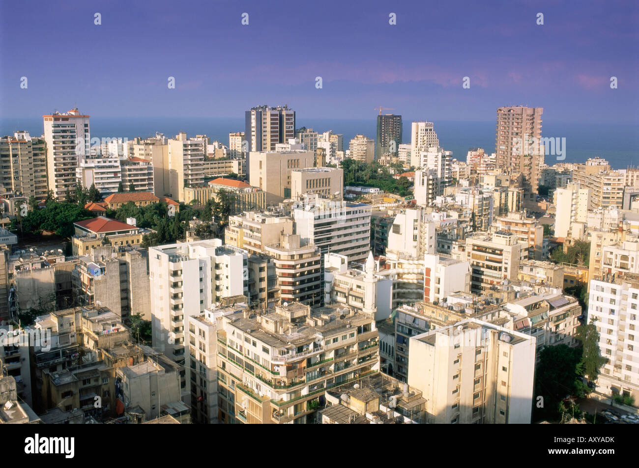 Elevated view over the fashionable central Hamra district in the reconstructed city, Beirut, Lebanon, Middle East - Stock Image
