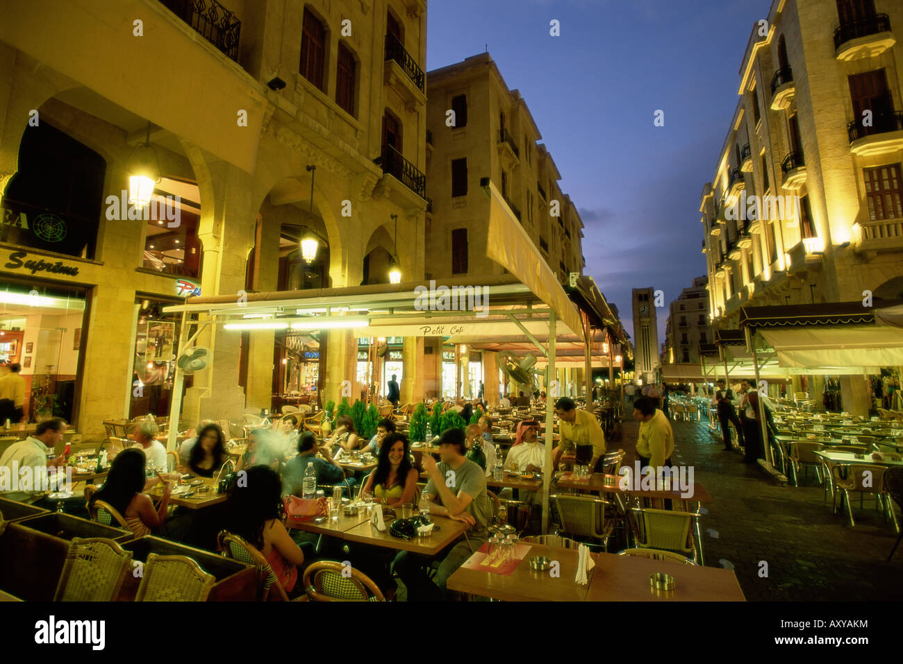 Outdoor restaurants in the downtown area of Central District (BCD) in the reconstructed city, Beirut, Lebanon, Middle - Stock Image