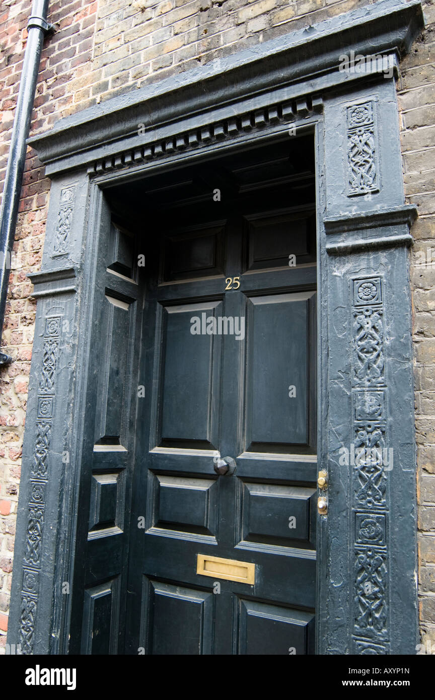 Elaborate door frame of a 18th century building in London - Stock Image