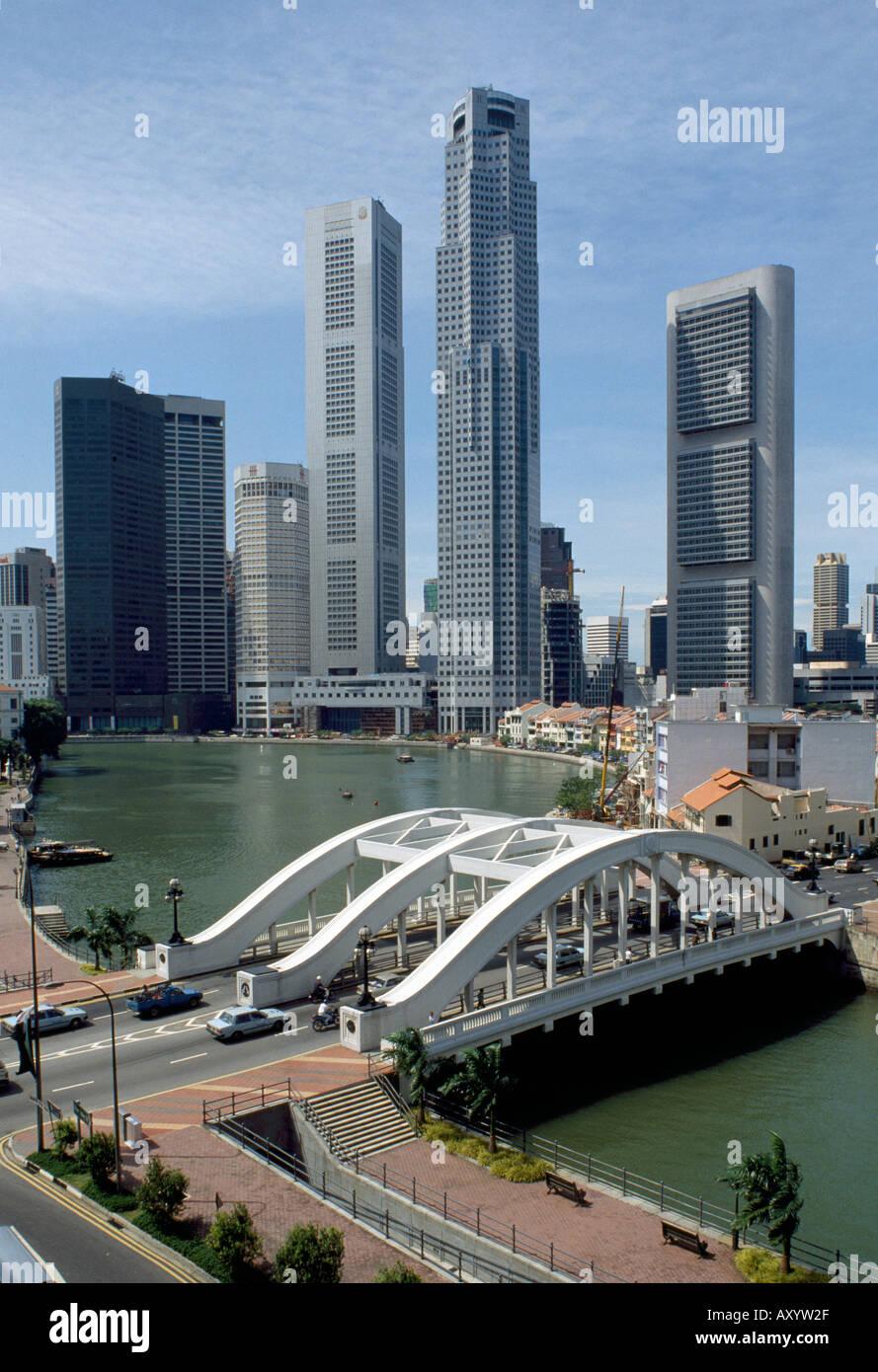 Singapur, Skyline am Singapore River, Innenstadt - Stock Image