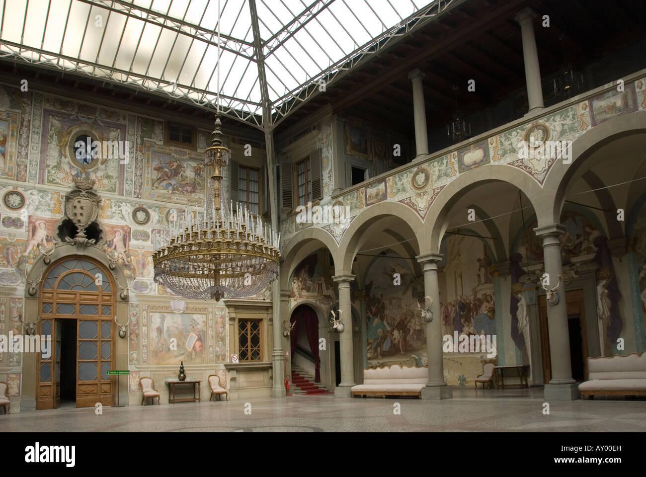 Villa Medici courtyard with the 19th century roof in the villa medici la petraia