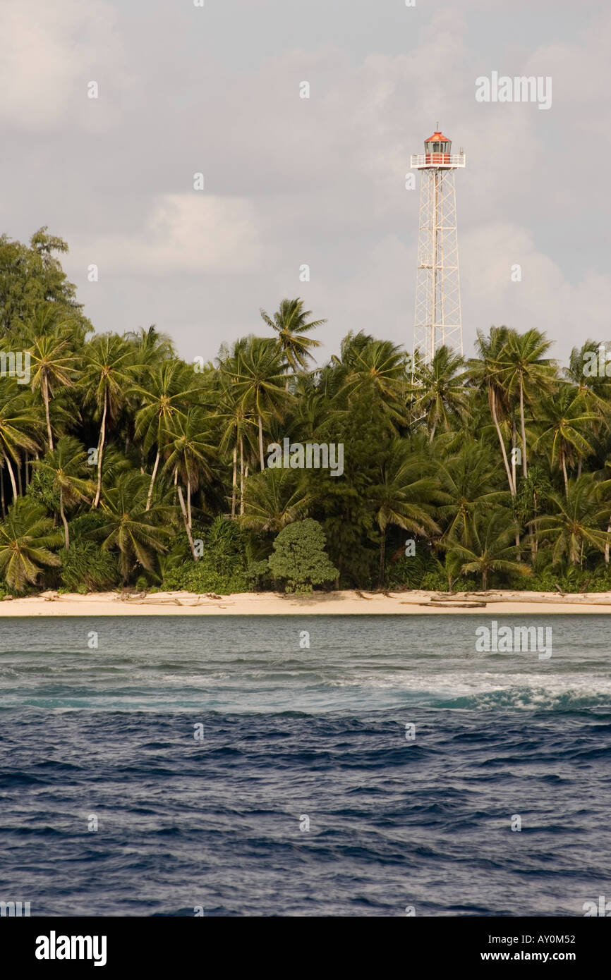 Automatic lighthouse on Mapia Atoll, West Papua, Indonesia Stock Photo