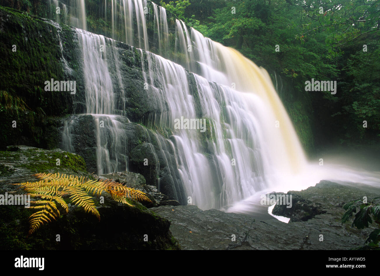 Sgwd Clun Gwyn waterfall otherwise known as The Upper Fall in the Brecon Beacons Wales UK - Stock Image
