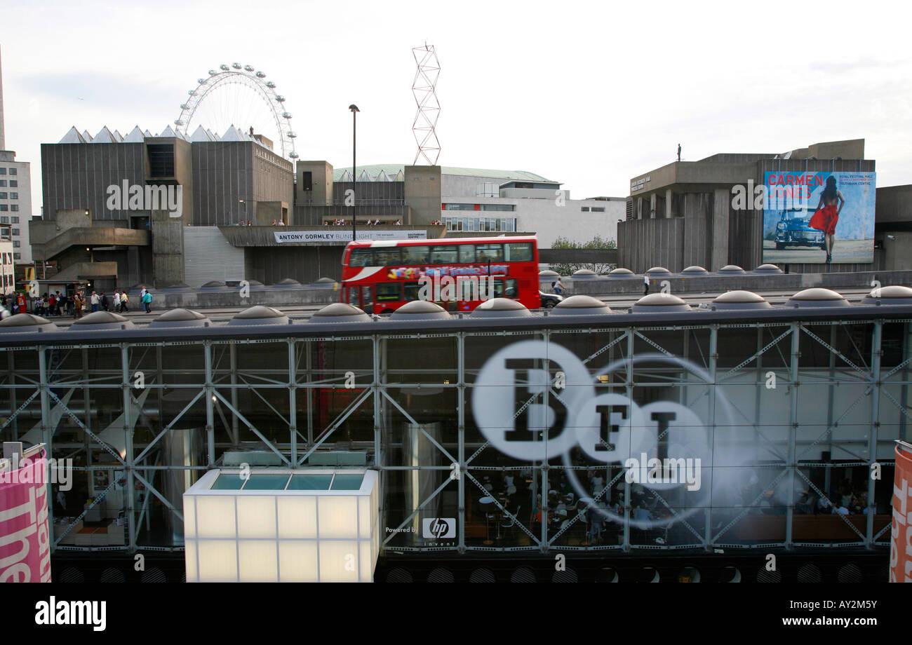 BFI building situated under Waterloo Bridge, South Bank, London - Stock Image