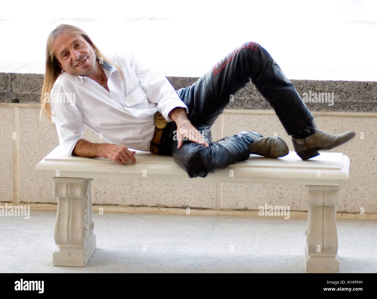 Alain Robert, Spiderman, French urban free solo climber - Stock Image