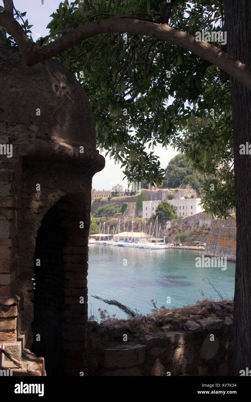 Old Fort and Boats, Kerkyra, Corfu, Greece, Europe, - Stock Image