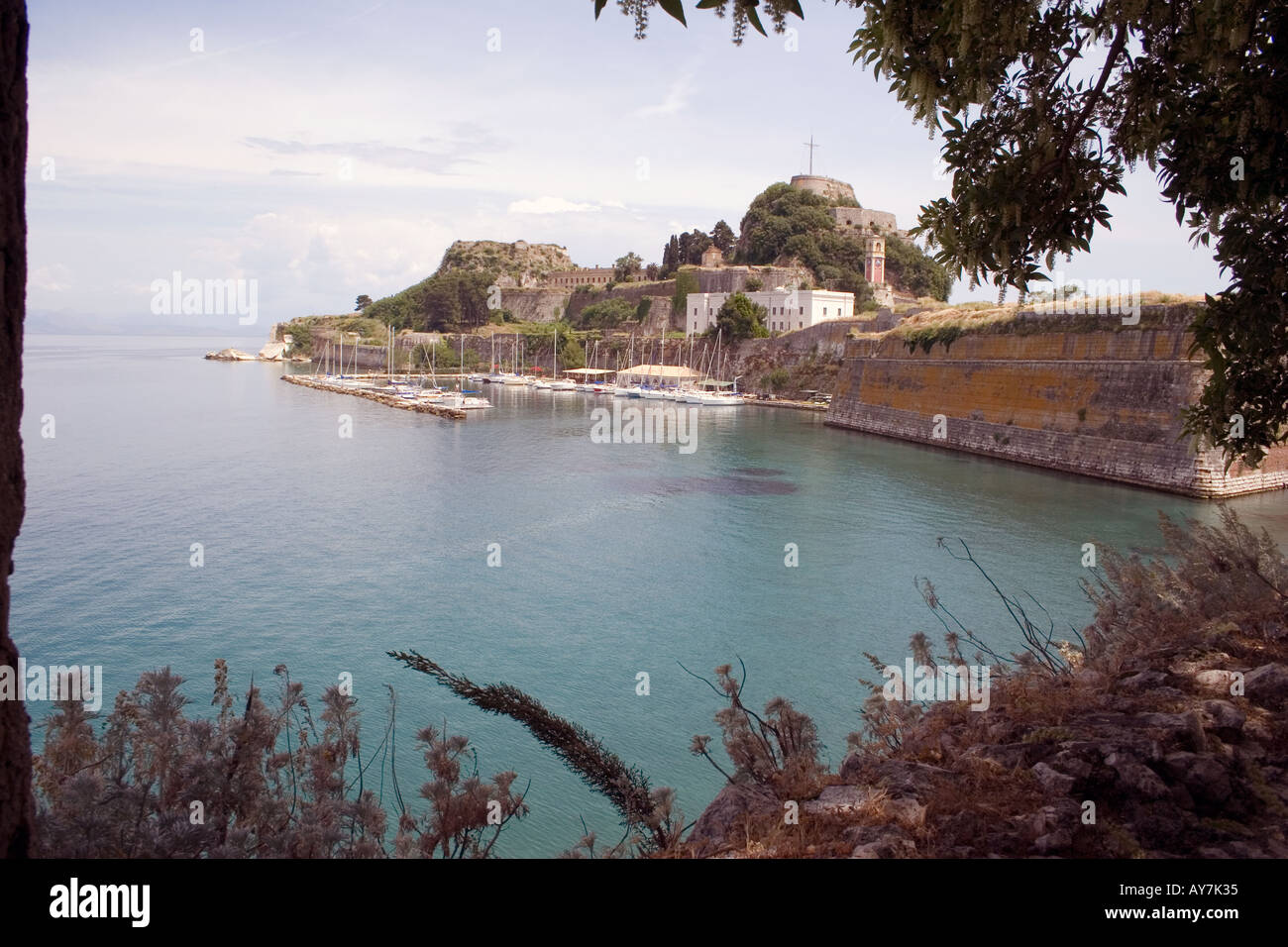 Boats moored near Old Fortress, Kerkyra, Corfu, Greece, Europe, - Stock Image