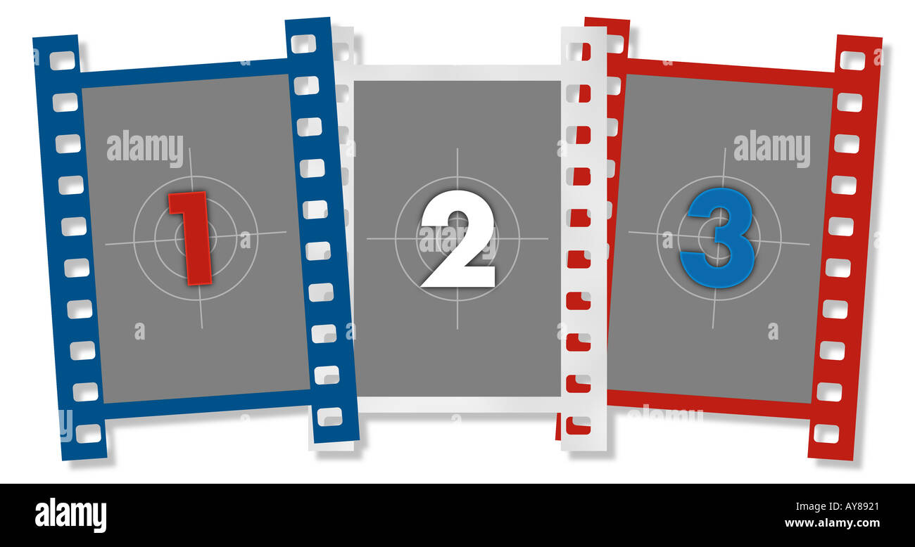 Vertical Film Frames In Red White And Blue Filled With 1 2 3 Stock