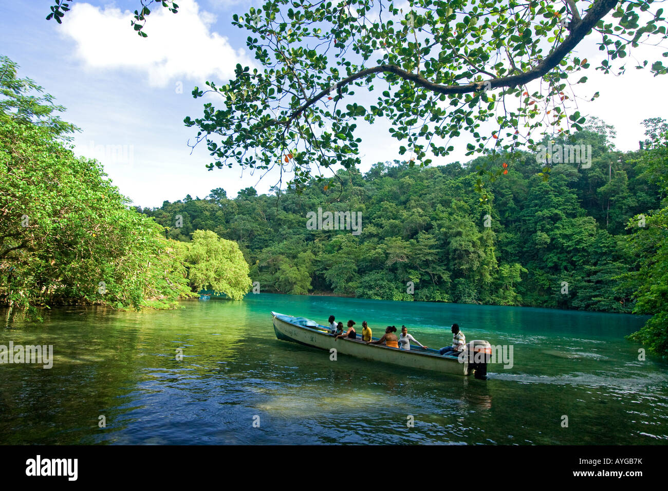 Jamaica Port Antonio Tropical landscape at blue lagoon tour boat with tourists - Stock Image