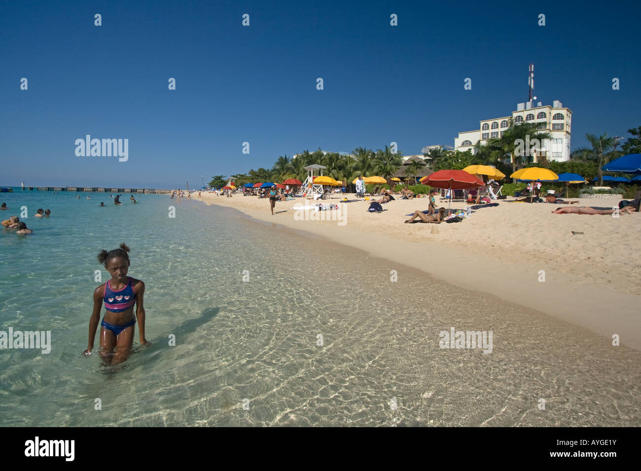 Jamaica Montego Bay beach Dr Caves beach - Stock Image