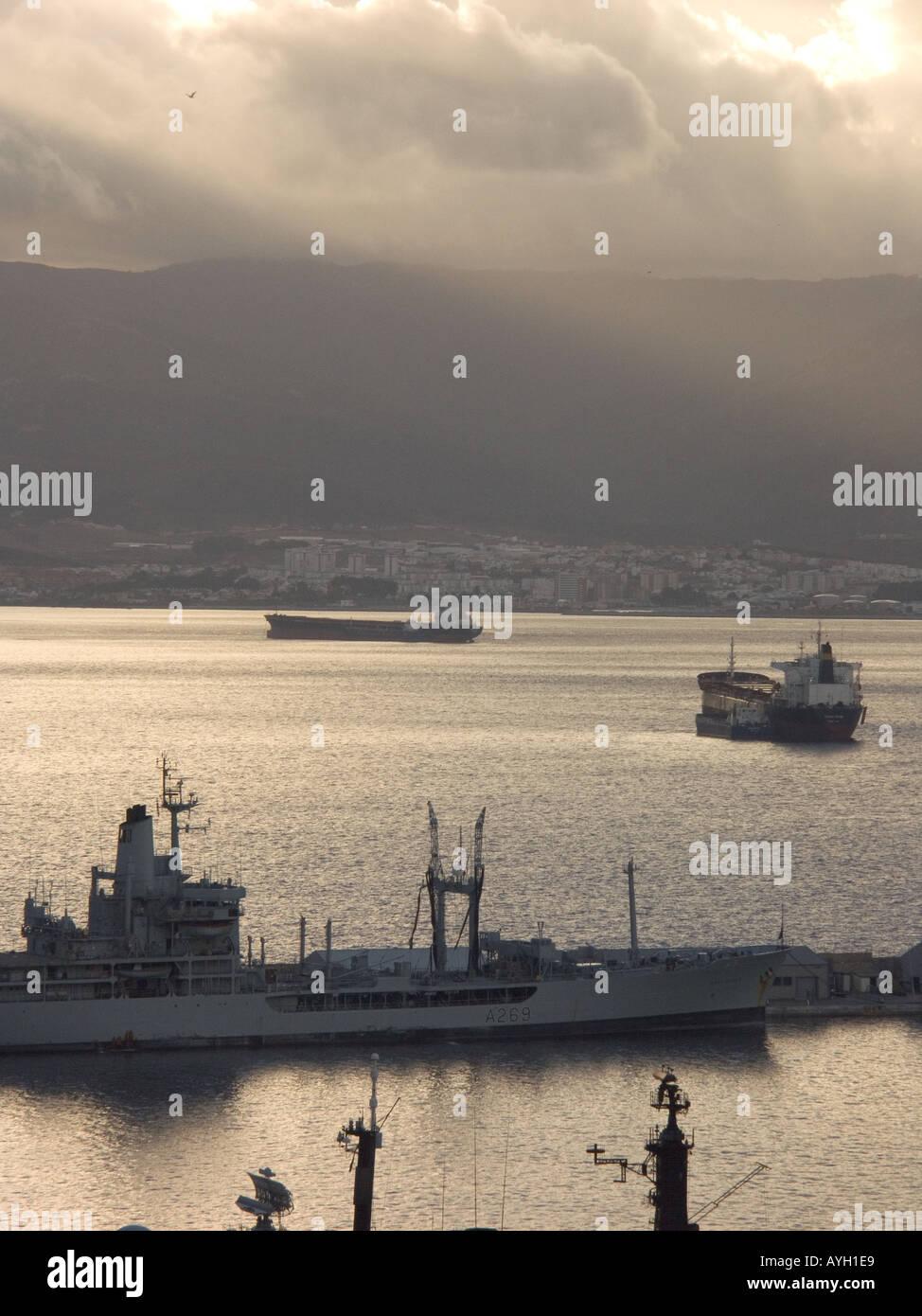 Dusk over the Bay of Gibraltar, shipyard shipyards sunset sunsets dusk evening nightfall  Gibraltar Harbour , Gibraltar - Stock Image