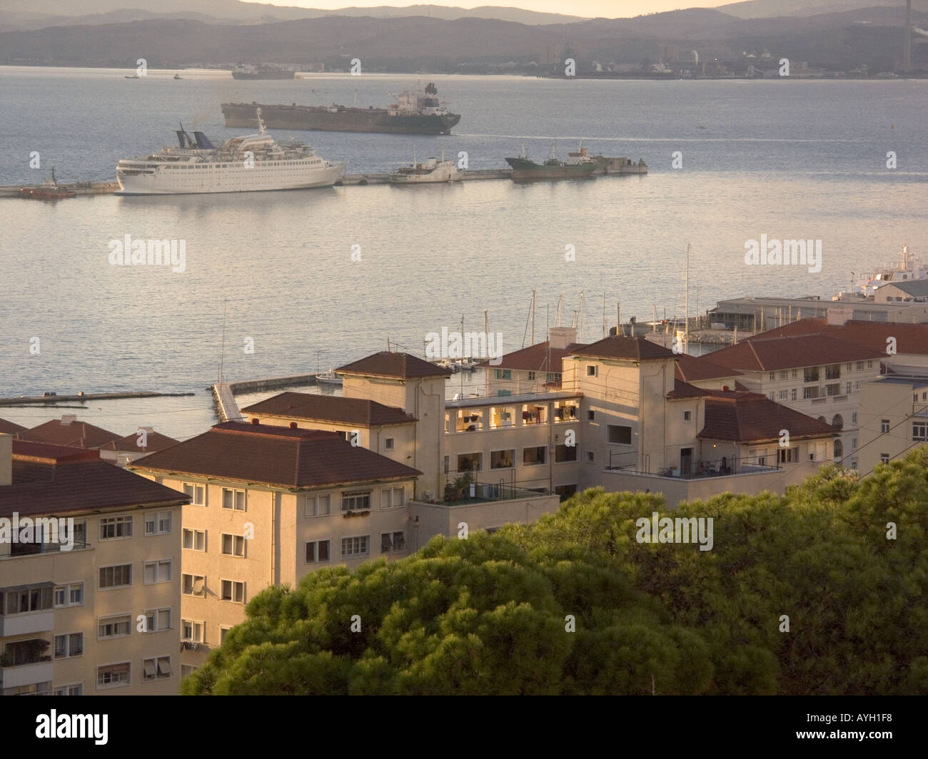 Dusk over the Bay of Gibraltar, Europe, ship and tankers, - Stock Image
