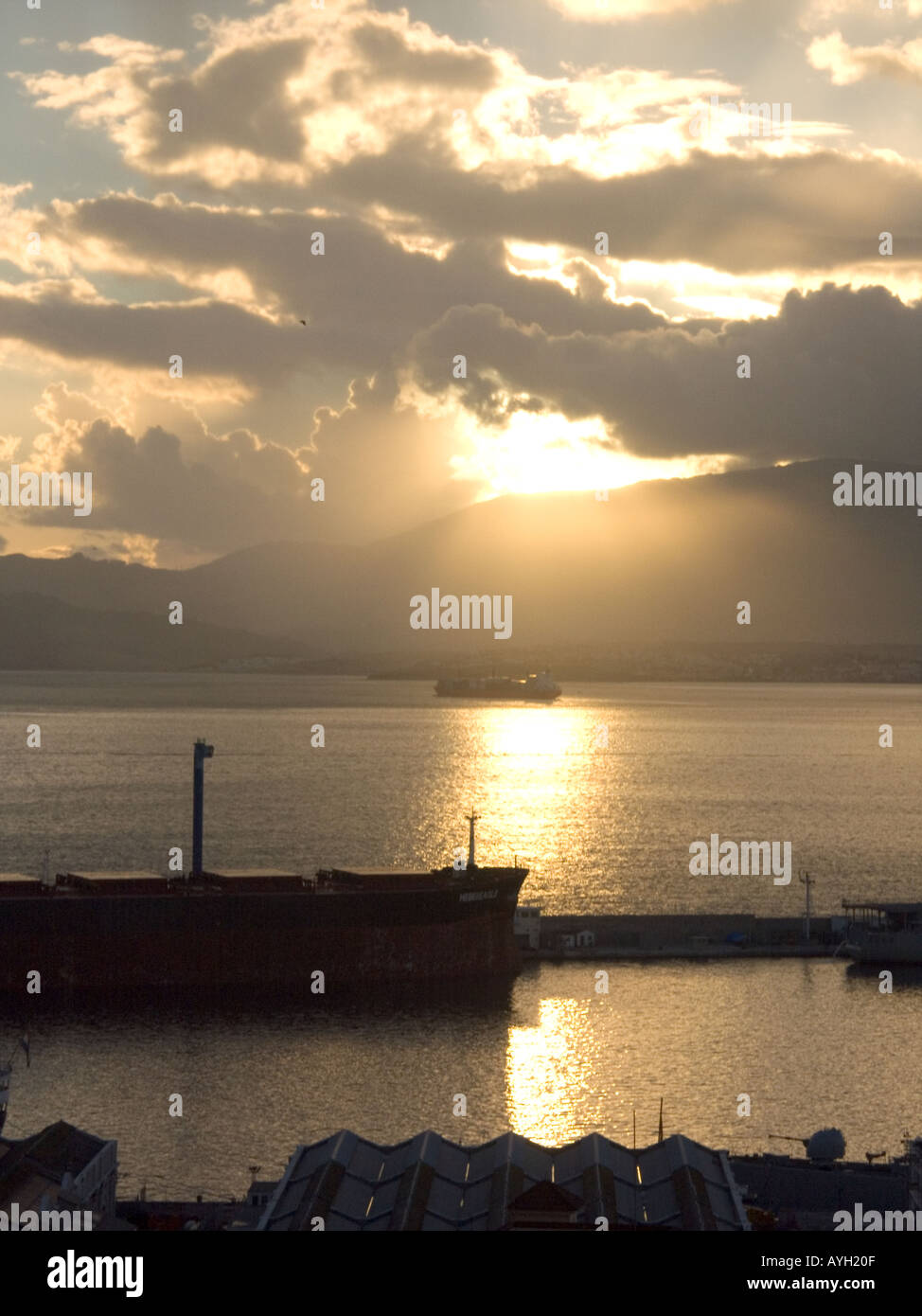 Dusk over the Bay of Gibraltar, Europe, with ships and tankers, - Stock Image