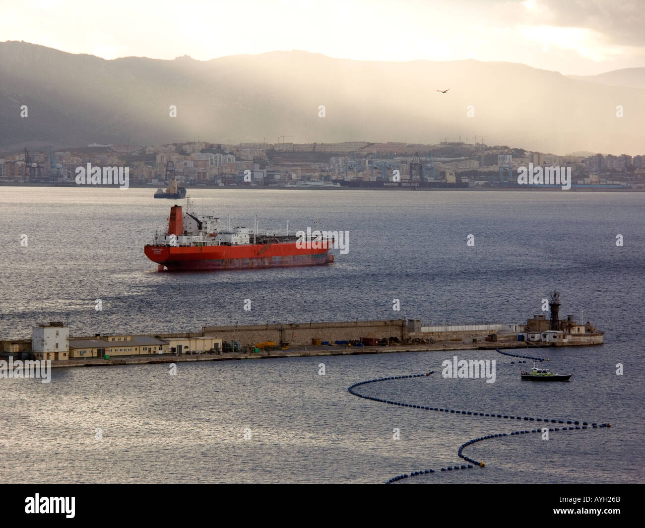Sunset over the Bay of Gibraltar - Stock Image