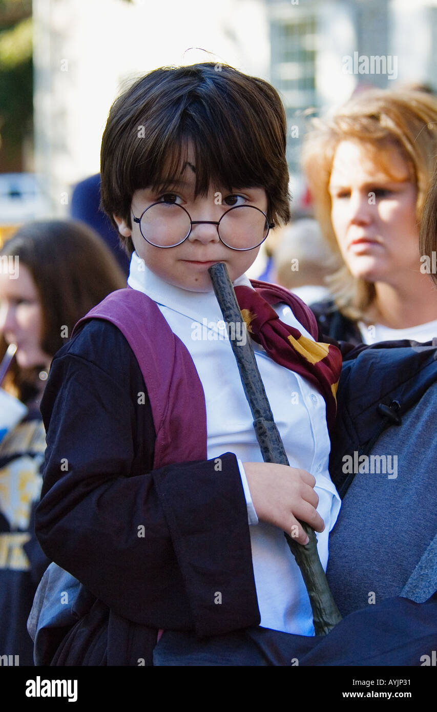 Young Boy in Harry Potter Character Costume Corydon - Stock Image