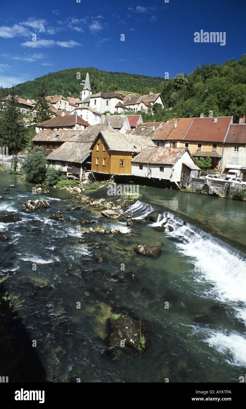 Pretty riverside village of Lods, Doubs, France. - Stock Image
