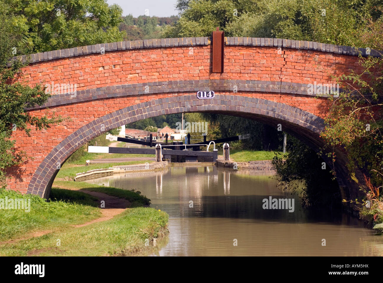 Bridge number 114 with a dangerous crack to the left Napton on the Hill on the Oxford Canal A prime example of how - Stock Image