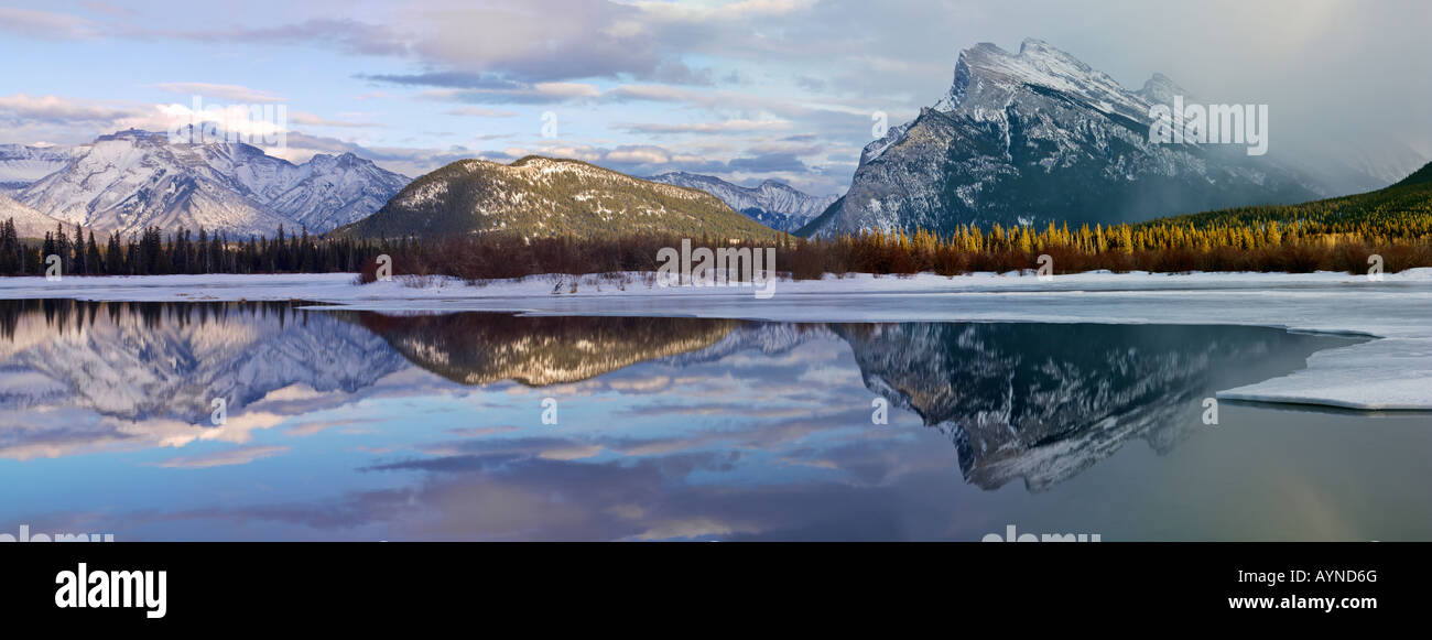 Canada Alberta Banff Banff National Park,Vermilion Lakes in winter with Fairholme Mountain Range and Mount Rundle - Stock Image