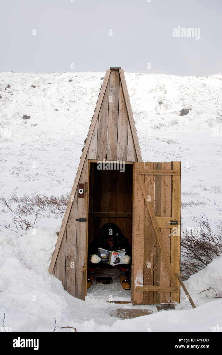 Wooden outdoor toilet in mountains of southern Kamchatka in Russian Far East Stock Photo