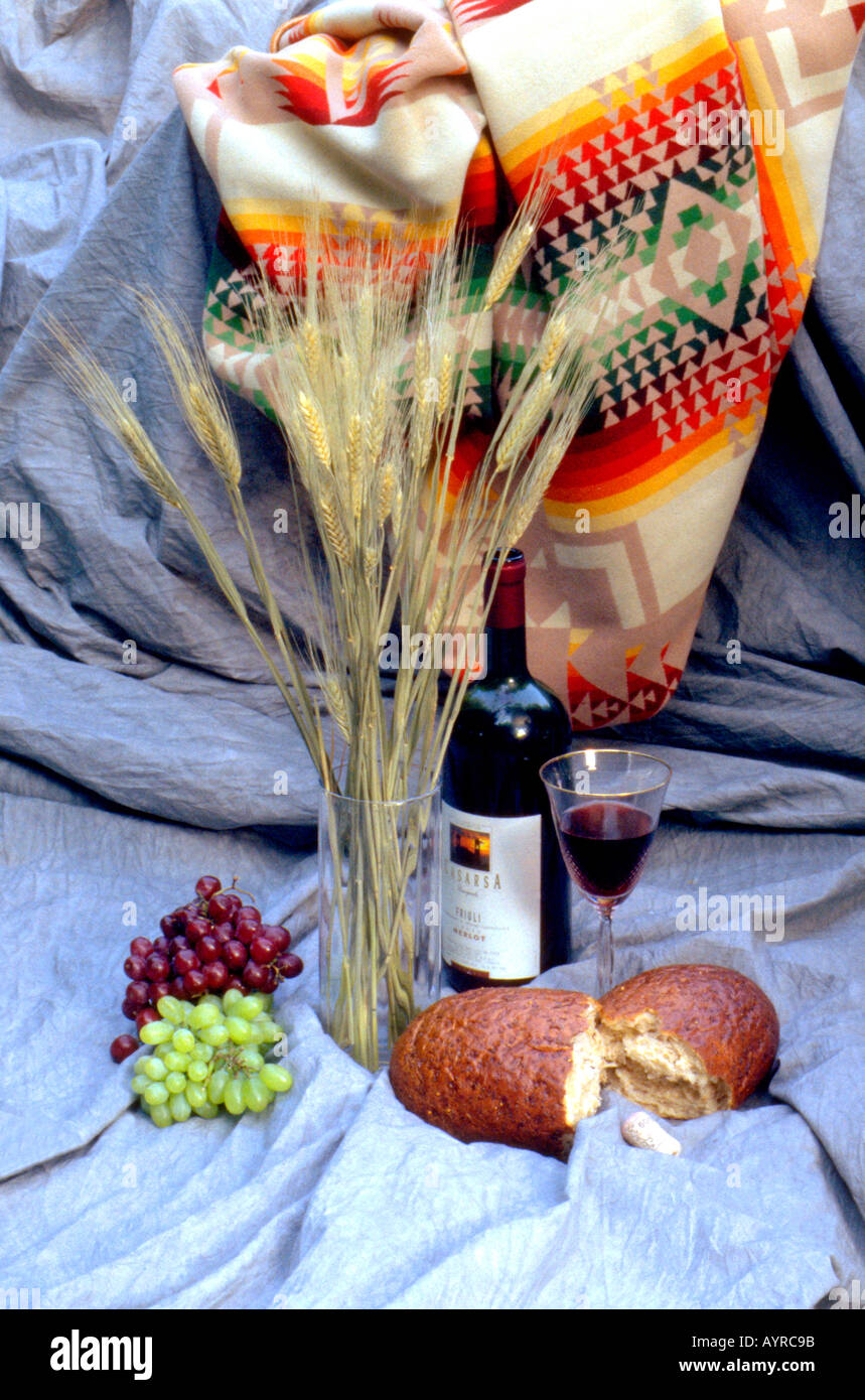 Bread Grapes Wheat And Wine With Navajo Blanket Tapestry St Paul