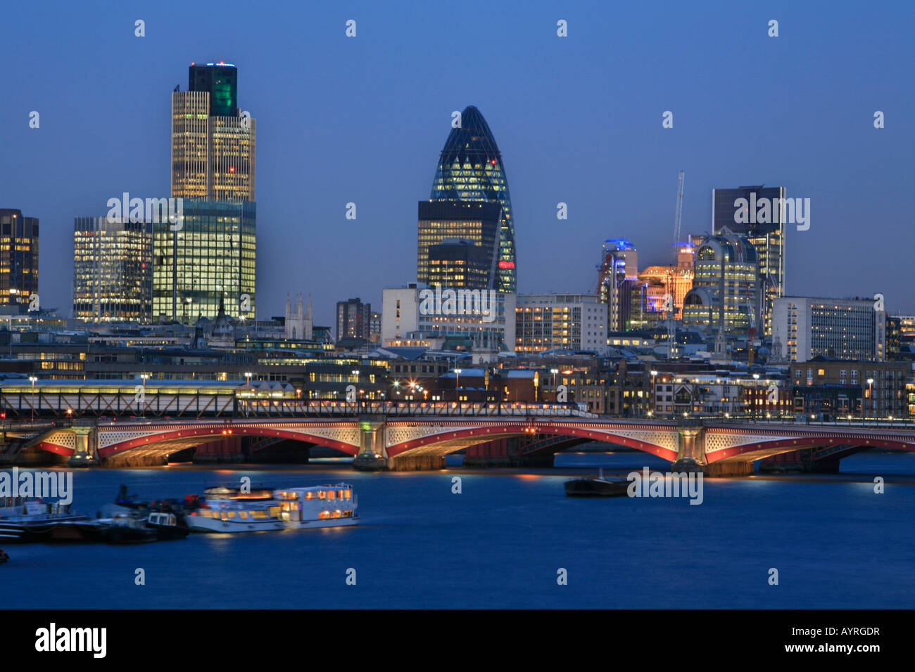 City of London skyline, Swiss Re Tower (30 St. Mary Axe) and other skyscrapers, London, England, UK - Stock Image