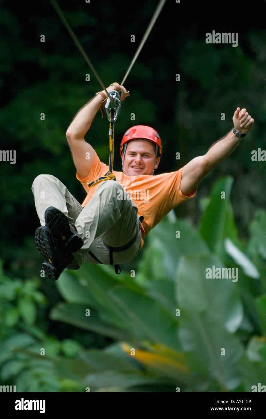Ziplining Aventuras del Sarapiqui Costa Rica - Stock Image