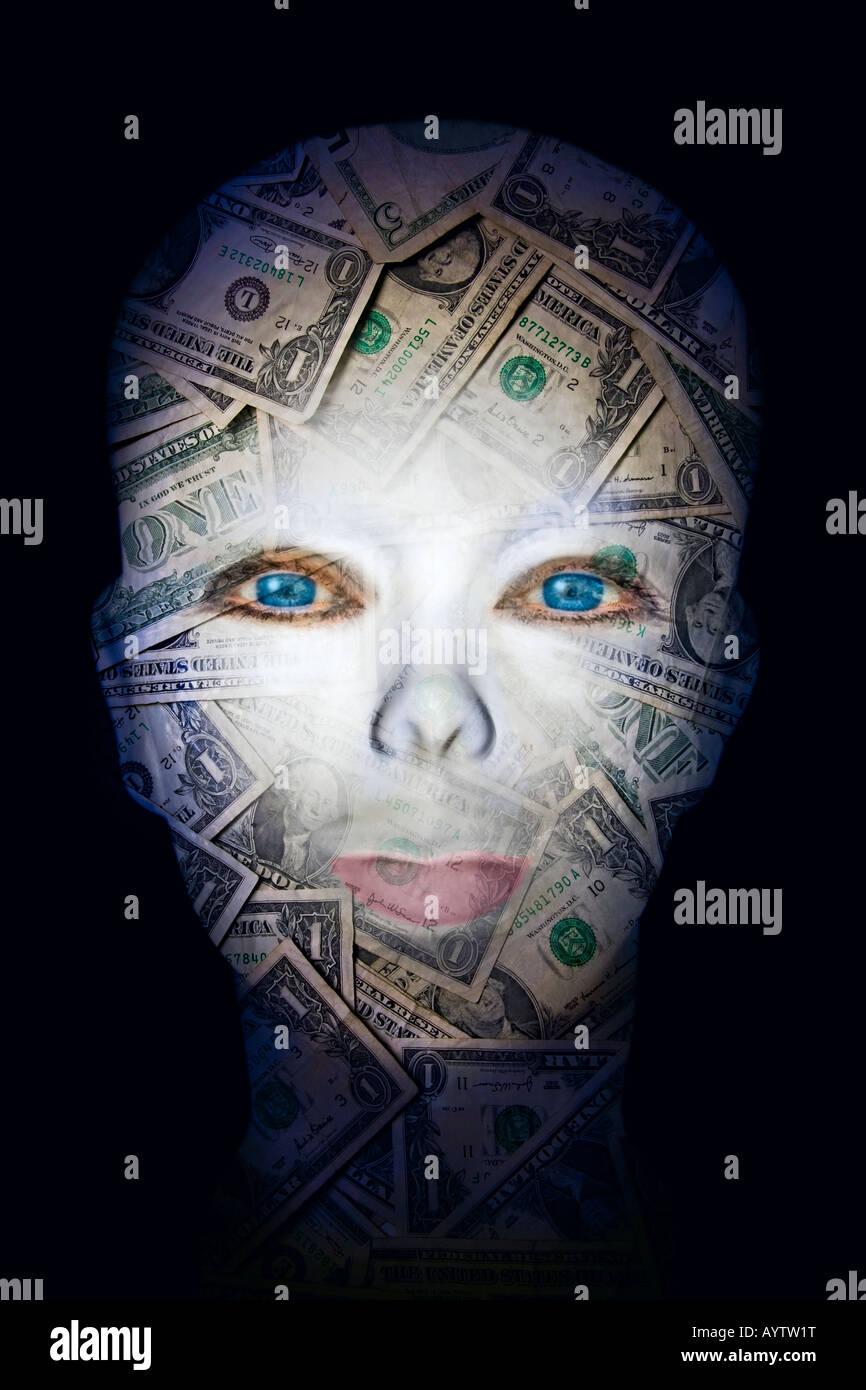 mannequin head with dollar bills - Stock Image