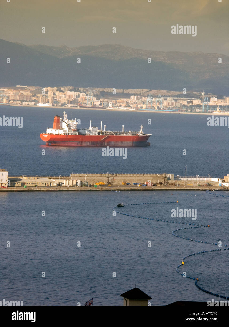 The Bay of Gibraltar freight ship shipping tanker yacht sail sailing boat Queensway Wharf Bay of Gibraltar Gibraltarian - Stock Image