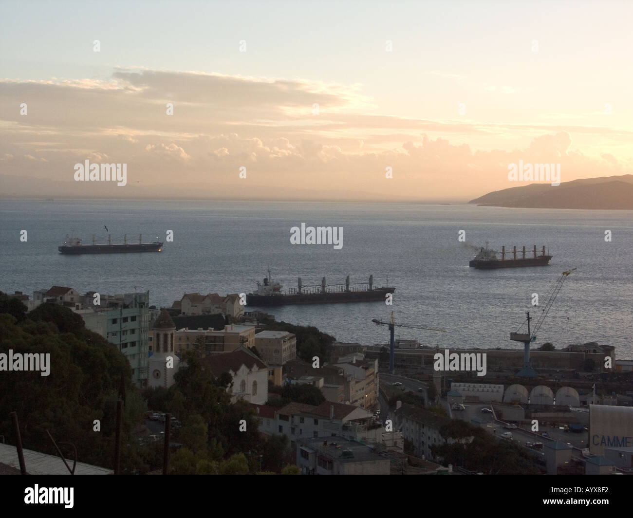Sunset over The Bay of Gibraltar Europe - Stock Image