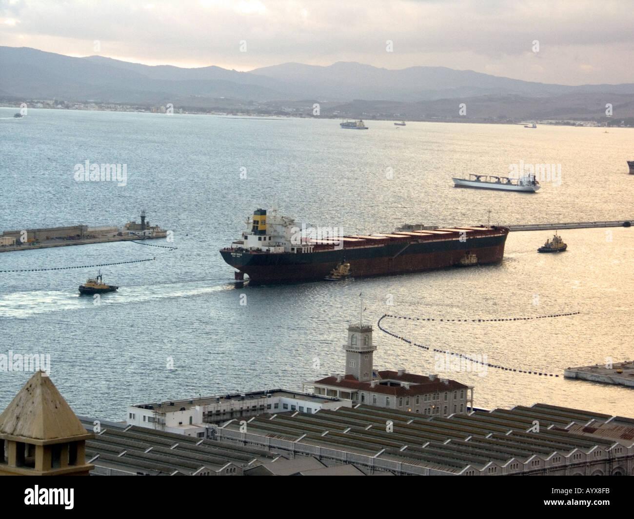 Sunset over The Bay of Gibraltar Shipyard - Stock Image