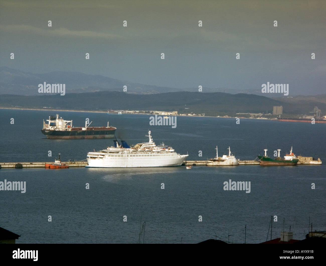 Sunset over the Bay of Gibraltar, Gibraltar, Europe, - Stock Image