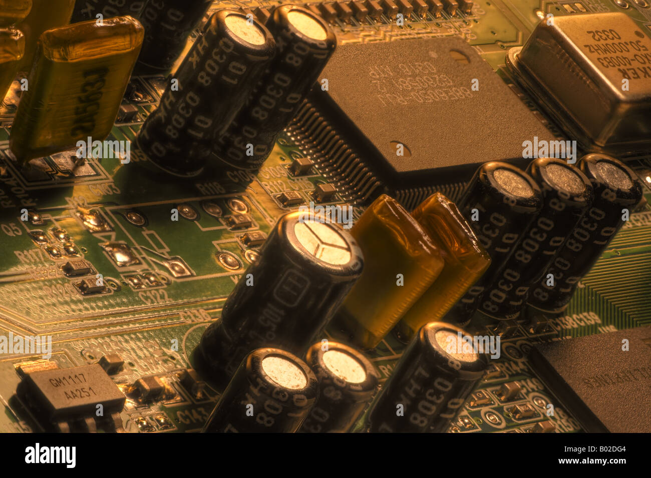 Circuits in extended focus closeup Stock Photo