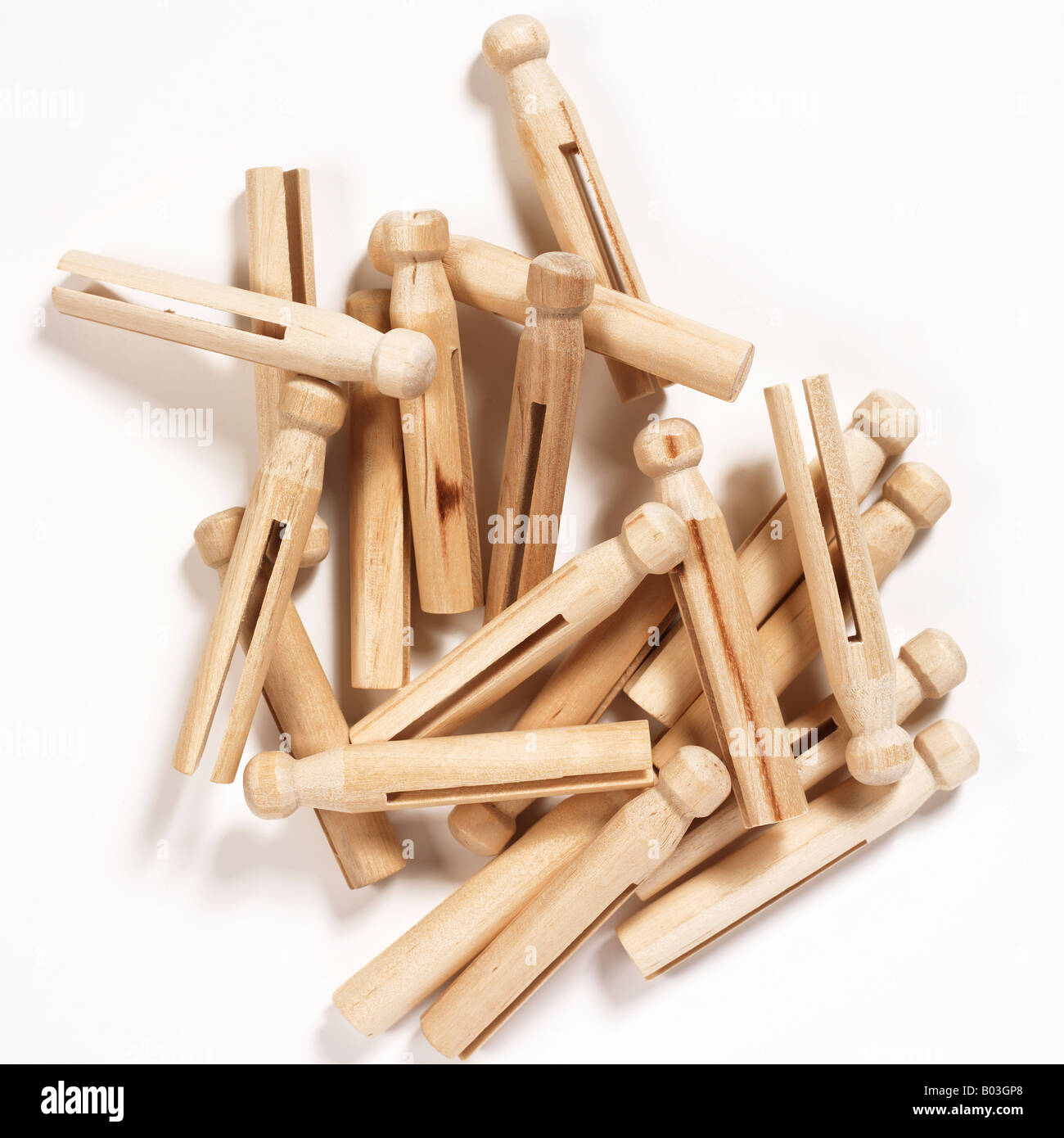 wood clothespins - Stock Image