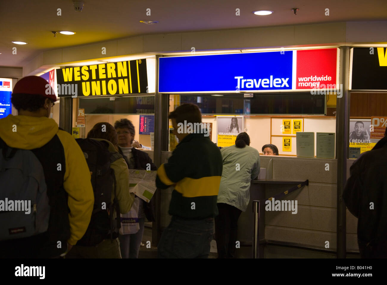 Travelex bureau de change at bruxelles midi station brussels stock