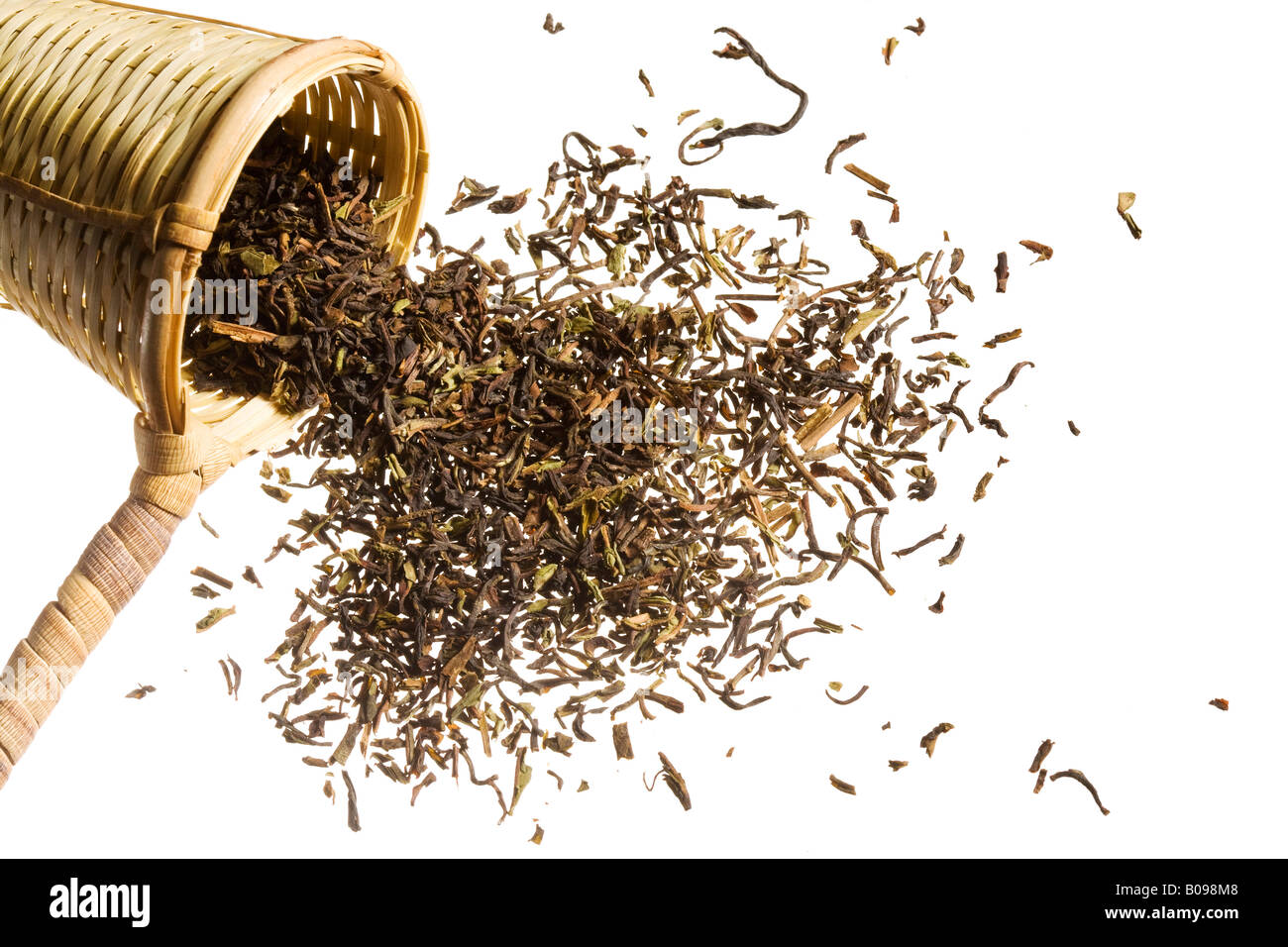 An scooper full of raw tea overflowing. Stock Photo