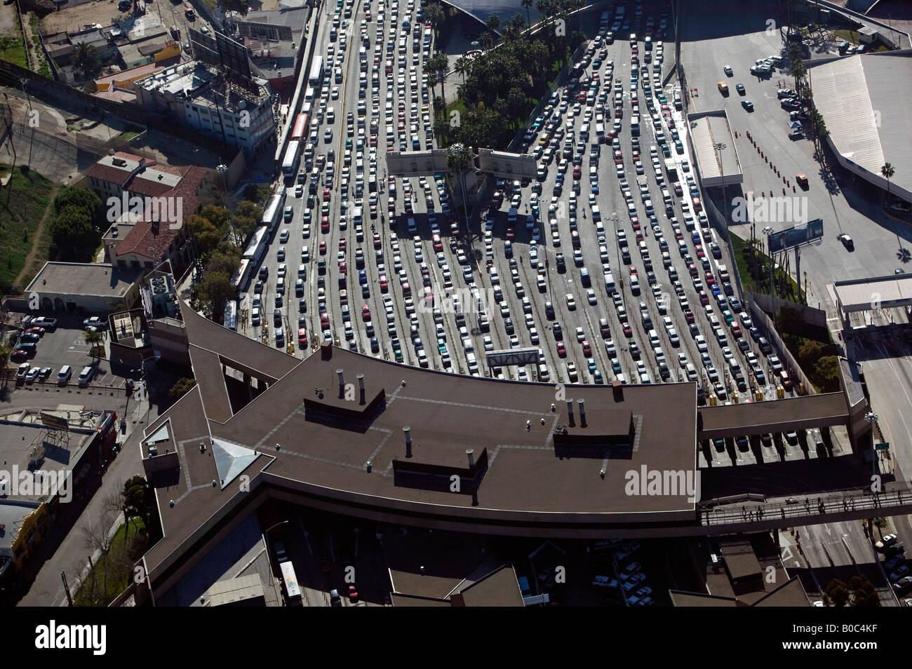 aerial San Ysidro, San Diego, Tijuana border crossing at the  Mexican American border - Stock Image