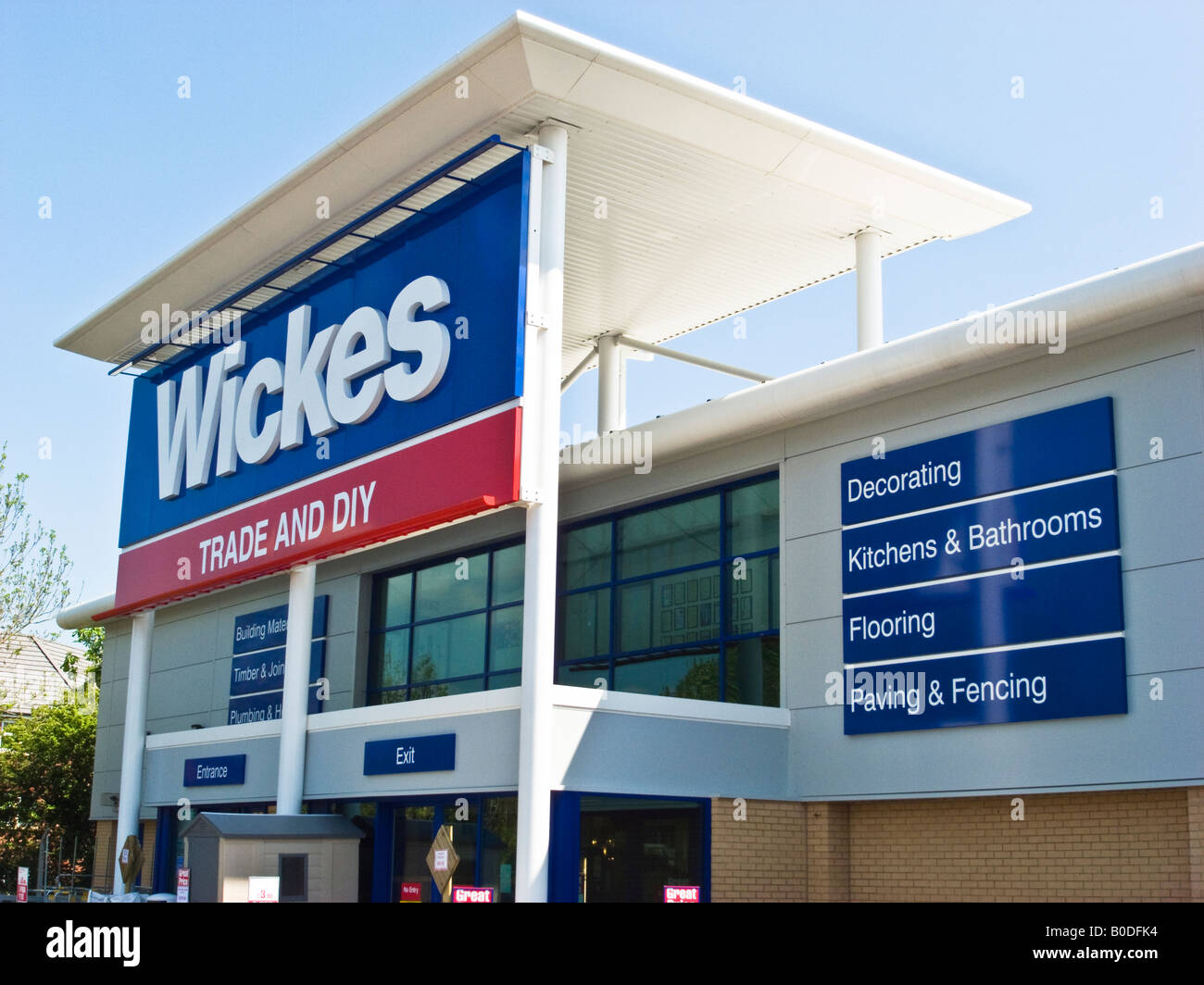 Entrance to Wickes new superstore in Chippenham Wiltshire England UK ...
