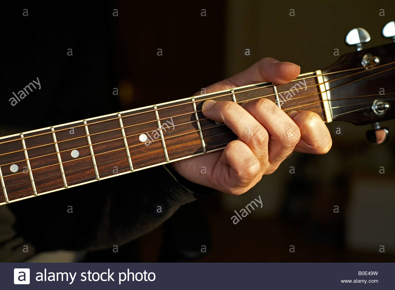 C Chord Played On An Acoustic Guitar Stock Photo 17521109 Alamy