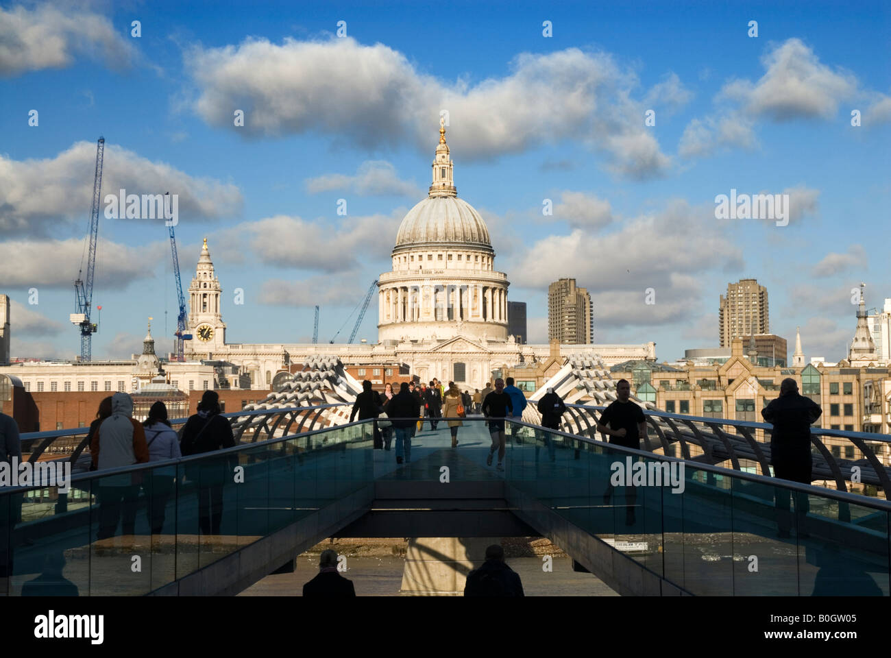St Paul's Cathedral from the Millennium Bridge London England UK Stock Photo