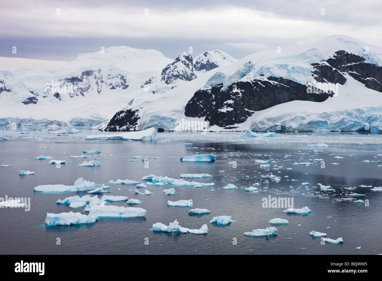 Icebergs glaciers and mountains at Paradise Harbour Antarctica - Stock Image