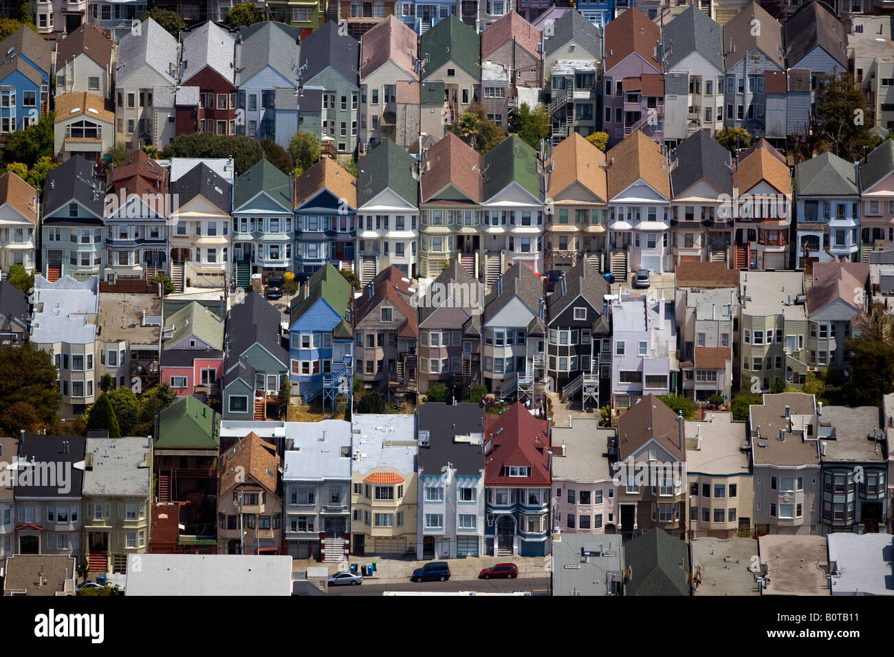 aerial above residential row houses San Francisco California - Stock Image