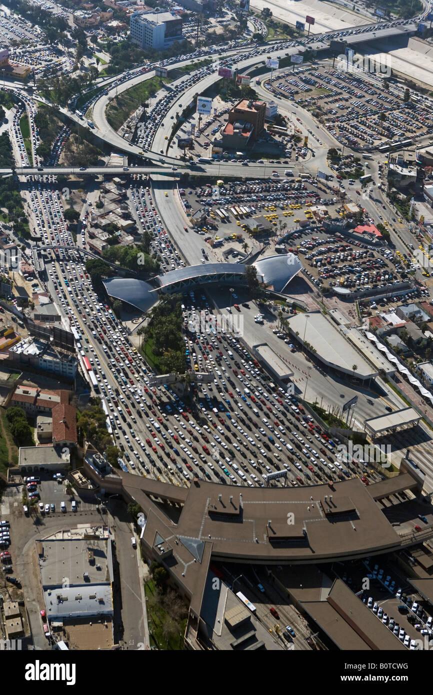 aerial above San Ysidro San Diego Tijuana border crossing Mexican American border - Stock Image