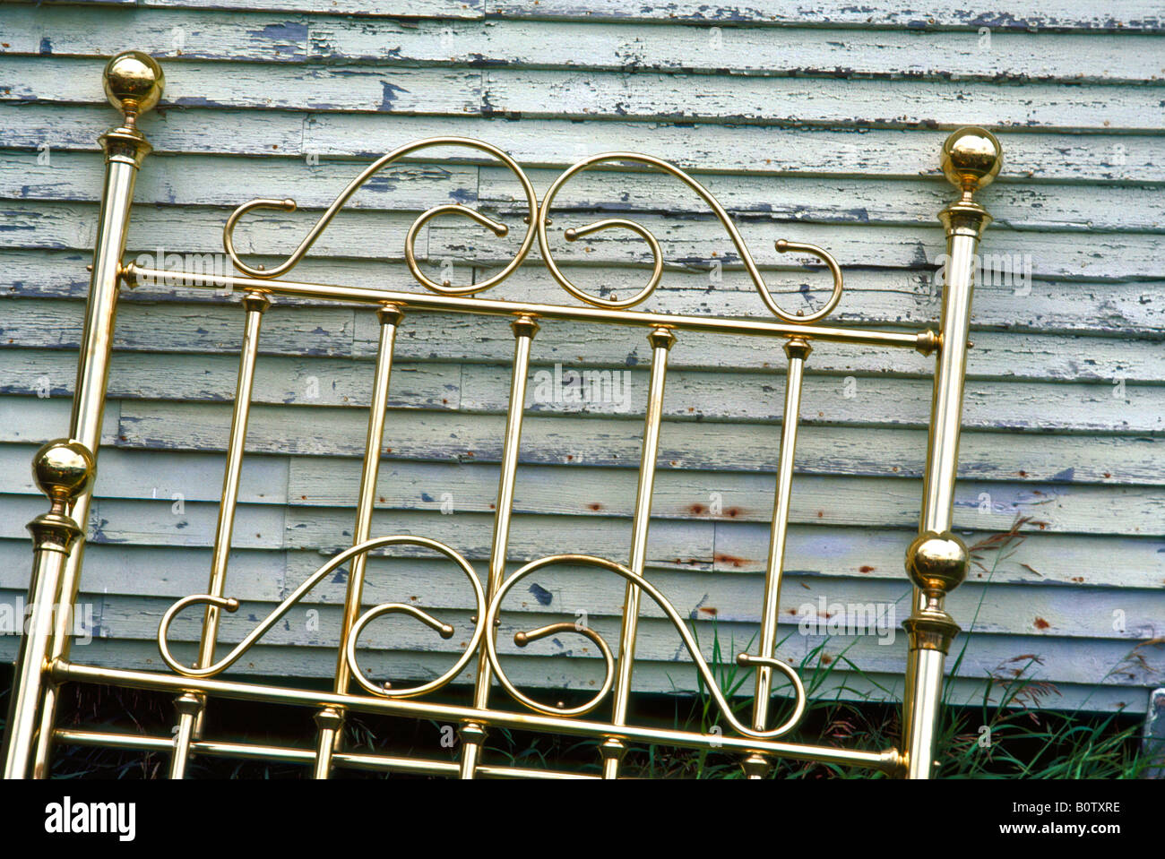 Brass Bed at an auction in Vermont Stock Photo