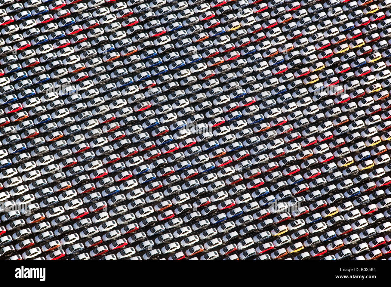 Aerial above imported cars Port of Benicia, California - Stock Image