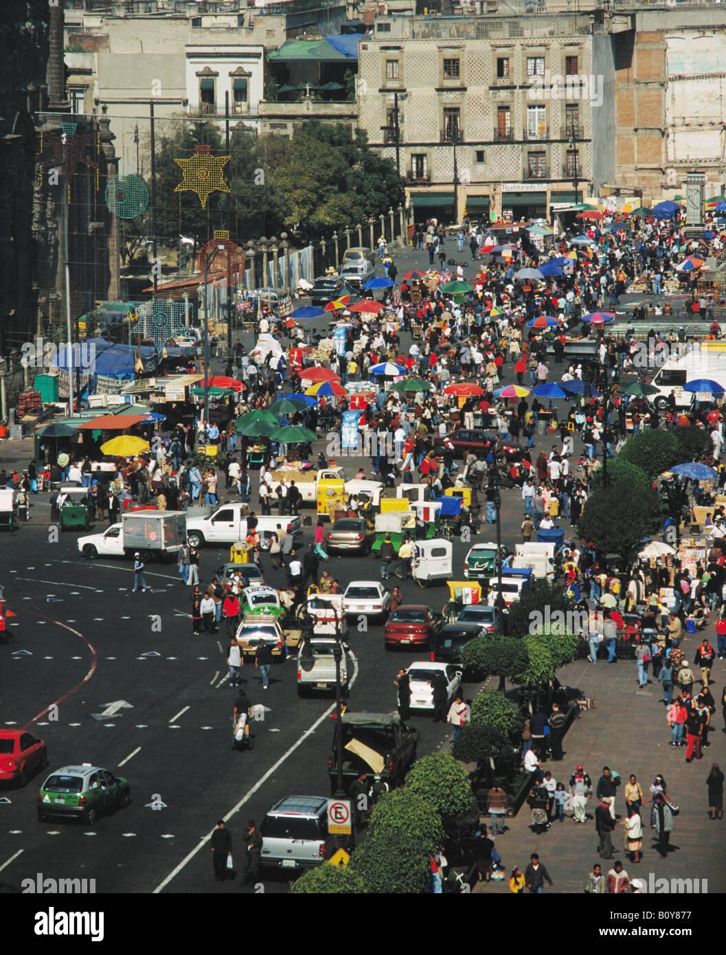 aerial above Zocalo Mexico City - Stock Image