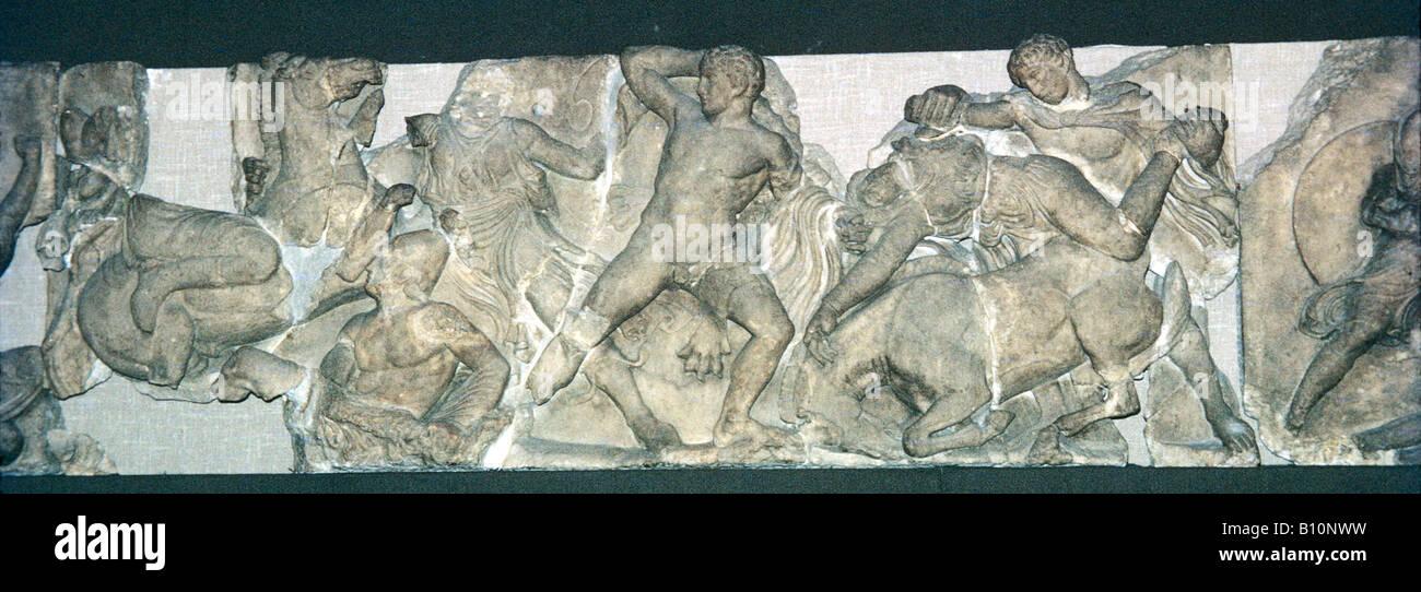 Amazon battle Bassae Temple Greek relief  Copyright : Ancient Art & Architecture Collection - Stock Image
